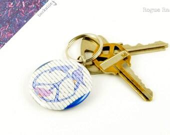 Peace Sign Key Chain - Purple Glitter Keychain - Graffiti Peace and Doves Keychain - Sparkly Peace Keychain - Peace, Love and Keys