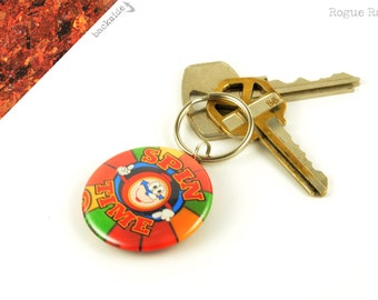 Spin Time Keychain - Sparkly Key Chain - Carnival Game - Circus Fun - Glitter Keychain - Sparkly Red and Orange - Boardwalk Game - Handmade