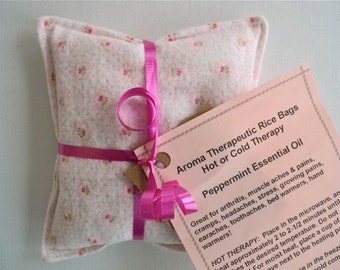 "Peppermint  Essential Oil Aroma Therapeutic Rice Pad - Hot or Cold Therapy - 4-1/2"" wide x 4-1/2"" long - Pink Print Flannel"