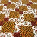 "Quilted Tablerunner / Table Topper / Tablecloth - Shades of Brown, Green, Yellow and Orange - 26"" x 26"""