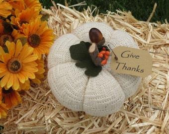 Give Thanks White Pumpkin Primitive Pumpkin Harvest Pumpkin Decoration