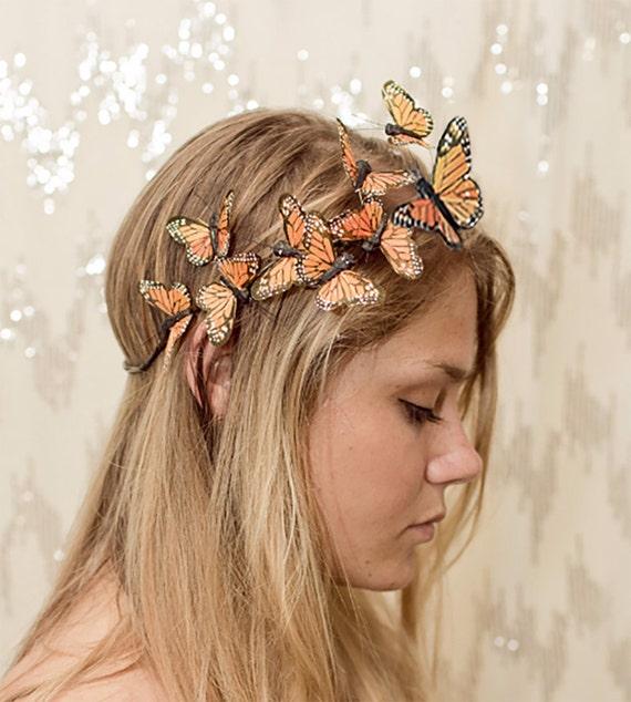Orange Monarch Butterfly Crown - princess, fairy,forest,renaissance