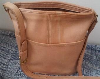 Late 70s COACH--Nude Leather Shoulder Bag--Flattened Bucket Shape--Front Pocket--Brass Zipper--Patina of Wear