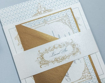 French Baroque Wedding Invitation Digital Download,Fleur de Lis Wedding Printable Invitation, Gold French Wedding Invites Digital Download