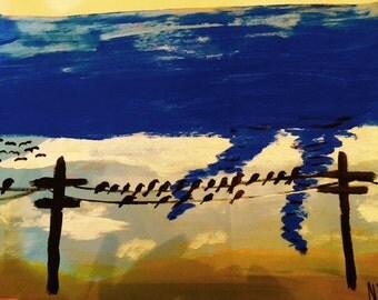 Birds On A Line original painting