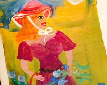Flower girl original painting marked 1/2 off
