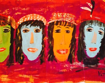 LADIES FACES all in a ROW original painting by NitA