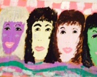 Six Ladies PINK CHEKERBOARD  original painting