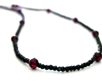 Black Spinel Faceted Garnet Necklace Sterling Silver