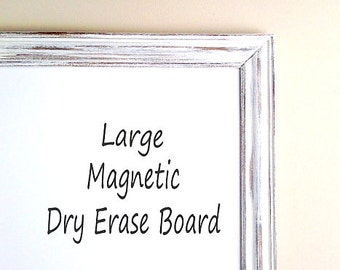 Magnetic DRY ERASE BOARD Framed Whiteboard Large Framed Whiteboards Decorative Dry Erase Board Farmhouse Wall Decor Weathered Wood
