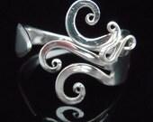 Vintage Silverware Jewelry - Fork Bracelet in Original Fancy Design Number Seven