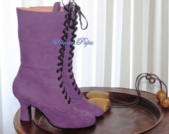 Victorian Boots Purple leather Edwardian boots Stage Victorian boots Custom made shoes