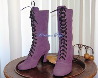 SALE 2016 Purple Victorian Boots Edwardian boots Stage boots Customized boots Boots by order