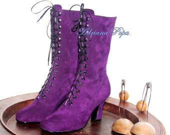 SALE Leather for one last pair Victorian Boots saturate Purple Victorian Boots Edwardian boots Stage boots Customized boots Boots by order