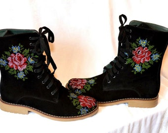Boho Ankle Boots Flower Embroidery Boots Urban boots Ankle Boots Flower embroidery Lace up Ankle Embroidery Boots