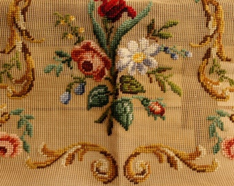 SALE- Vintage Needlepoint Sample, Large Canvas, Store Sample, Hand Made Tapestry, French Decor, Shabby Chic, Classic Florals, Home & living