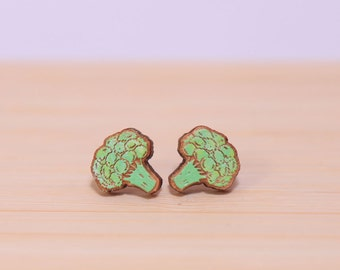 super cute broccoli laser cut and hand painted wooden stud earrings
