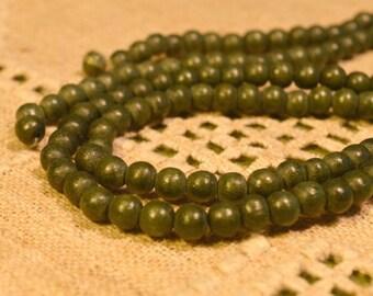 133pcs Dark Forest Green Wood Natural Beads 6mm Round Macrame Bead