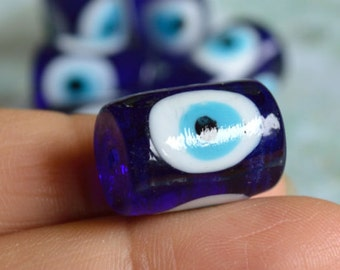 6pcs Lampworked Glass Bead  Evil Eye Blue 18x13mm Tube Protection Amulet