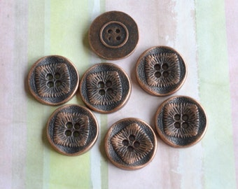 20 Buttons 21mm Antiqued Copper Pewter Button Findings