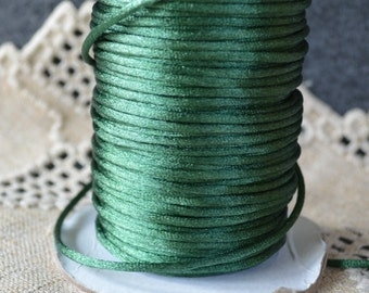 1.5mm Satin Cord Forest Green 5 Yards