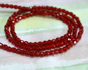 133pcs Czech Fire-Polished Bead 3mm Ruby Red Glass Faceted Round Firepolished