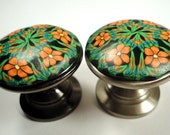 8 Cabinet Knobs /Cabinet Pulls   Metal and Polymer Clay   16 available   orange blue green black