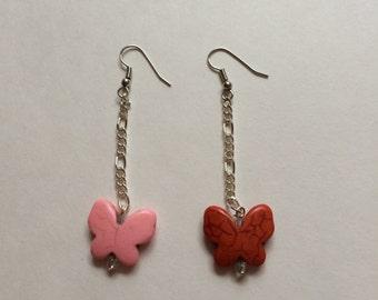 Butterfly earrings; hook earrings;