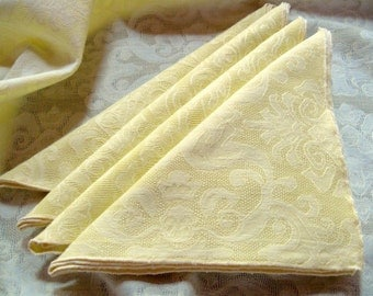 Yellow Vintage Tablecloth Napkins Acanthus Leaves Motif