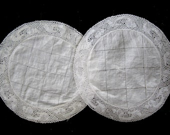 SALE - Pair of Very Fine Linen Muslin Antique Doilies - Round - Now only 10 dollars for the pair !