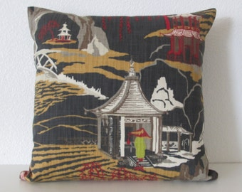 Neo Toile Lacquer asian toile charcoal red decorative pillow cover