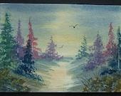 trees aceo original SFA art painting landscape watercolour ref 228