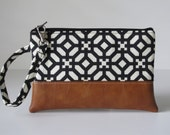 Black Wristlet Wallet, iPhone wallet, Vegan Leather Clutch Purse, Cellphone Wristlet, Boho Zipper Pouch, Boho Clutch,Gift For Her