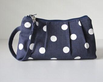 Wristlet, Clutch, Zipper Pouch, Bridesmaid Gift, Gift For Her, Bridesmaid Wristlet, Gift Idea For Her  - Navy Polka Dot