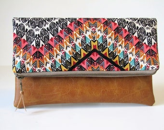 Fold Over Clutch, Boho Chic Clutch Purse, Vegan Leather Clutch, Ipad Case, Kindle Case,Holiday Gift , Gift For Her, Boho Bag