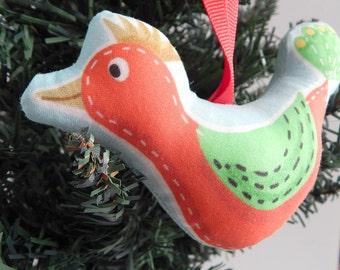 Red Bird Fabric Christmas Ornament Mid Century Style