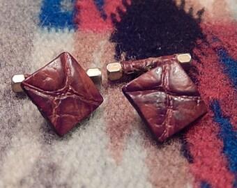 Leather Cufflinks,  Men's Vintage Cufflinks, Gift for Him