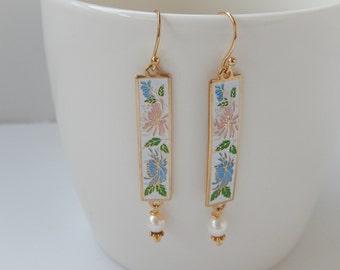 Vintage Enamel Earrings, Long Dangly Earrings, Etched Flower Earrings, Gift for Her