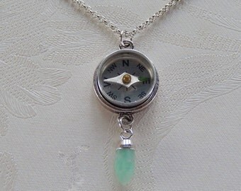 Necklace, Compass Necklace, Lost ? Small Charms, Gift for Her