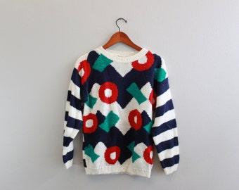 Vintage 80s Geometrical Stripe Sweater by 16th Street