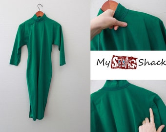 Vintage 40s Asian style Long sleeve Green Dress