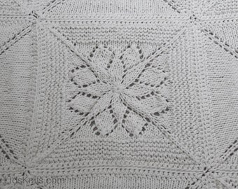 White Squares Hand Knit Cotton Large Baby Blanket