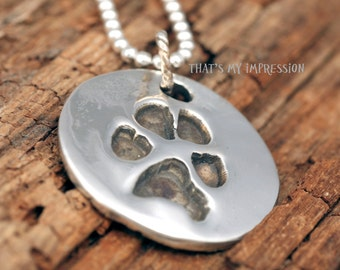 Custom Pet PawPrint Charm- Sterling Silver Memorial Pet Jewelry- Dog PawPrint, Dog Gifts,Cat Gifts, Cat Paw Imprint
