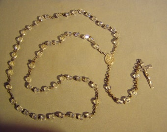 Vintage Sterling Silver Faceted Glass Bead Catholic Rosary Marked AF Full Size With 59 Beads 8415