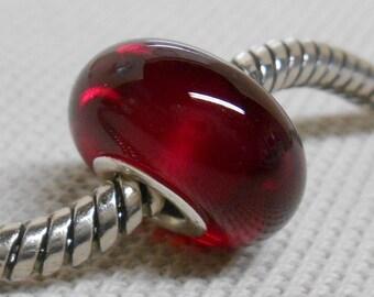 Transparent Red Lampwork Bead, Silver Cored Large Hole Handmade Lampwork Bead