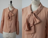 Vintage Salmon Peach Nude Chiffon Blouse with Poet Sleeves and Ascot Bussy Bow Necktie 80s  M-L