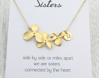 Weekend SALE Personalized Flower Initial Necklace, Gold Orchid Necklace, Sisters Necklaces, Gift for Her Birthday, Wedding Bridal Gift,