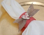 Wedding Napkin Rings Coral Gold Burlap Floral Heart Wedding, Events, Parties