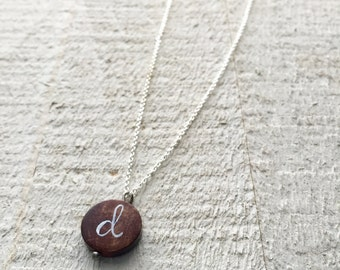 Wood charm Initial Necklace