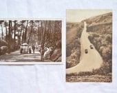 Vintage English Postcards, 2 Sepia Views Of England, Edwardian Bournemouth, Motor Cars 1930s, Historic England, UK, Collectible, Unused
